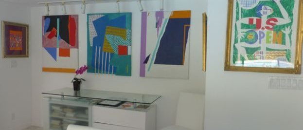 paintings in dining area